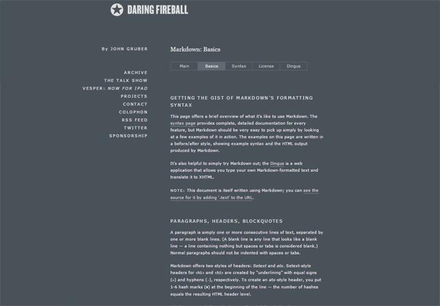 Daring Fireball: Markdown