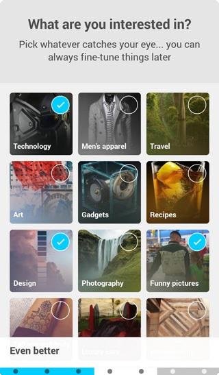 Pinterest app onboarding UX