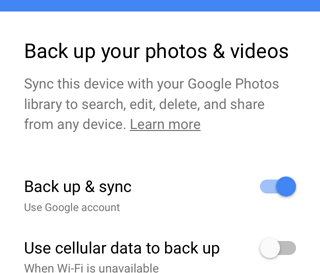Google Photos network-awareness UX