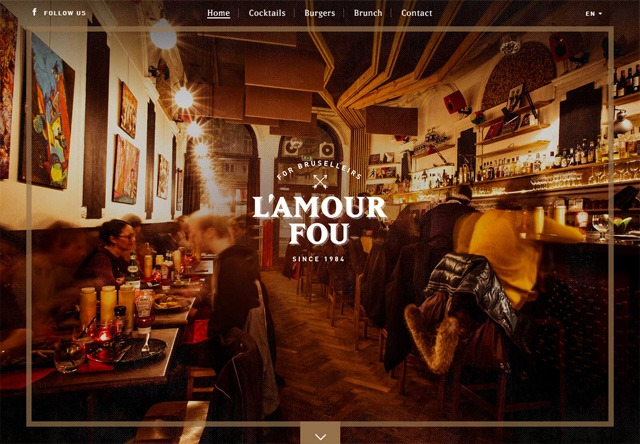 Image of a restaurant website: L'Amour Fou