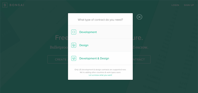 Choose the type of contract you want to create.