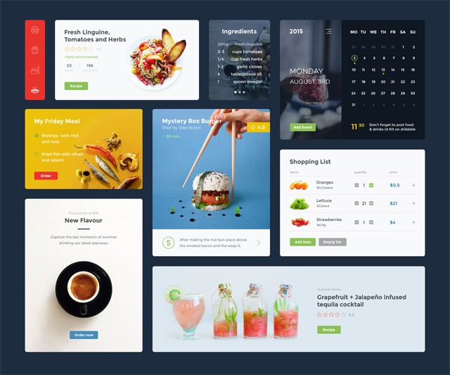 Food & Drink UI Kit (PSD + Sketch)