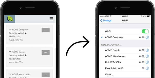 Automatically configure WiFi in company mobile devices.