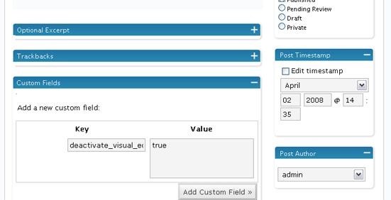 Wordpress custom field for Deactivate Visual Editor plugin