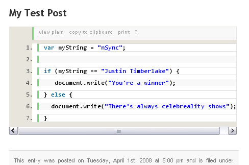 Screenshot of Google Syntax Highlighter for WordPress