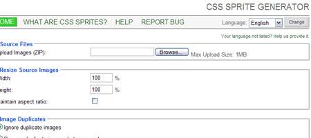 CSS Sprite Generator - Screen shot