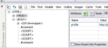 IE Explorer Developer Toolbar - Screenshot