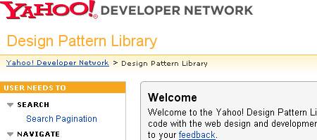 Yahoo! Design Pattern Library Screenshot