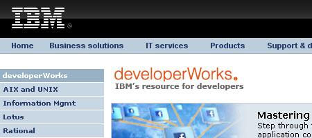 developerWorks - screenshot