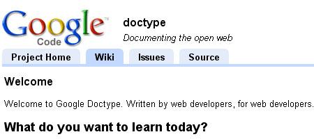 Google doctype - Screen shot
