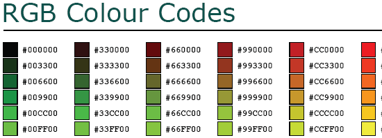 RGB Hex Colour Chart - screen shot.