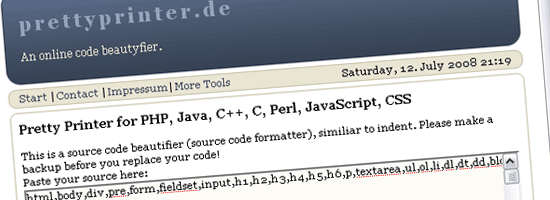 prettyprinter.de - screen shot.