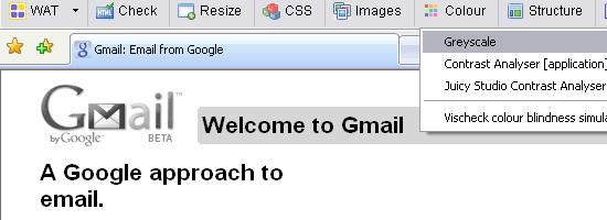 Web Accessibility Toolbar - screen shot.