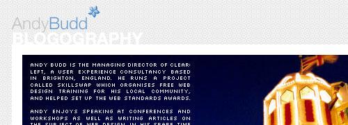 Andy Budd CSS/Web Standards Links - screen shot.
