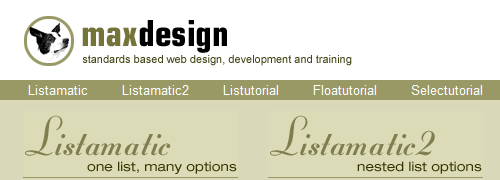 CSS at MaxDesign - screen shot.