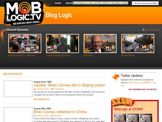 Blog at MobLogic.tv - screen shot.