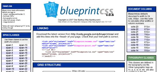 Blueprint CSS Cheat Sheet - screen shot.