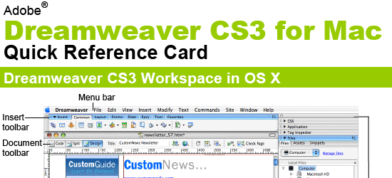 Dreamweaver CS3 for Mac Quick Reference Card - screen shot.