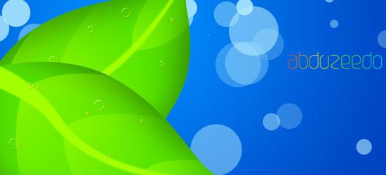 Splashy Leaf Wallpaper In Photoshop - screen shot.