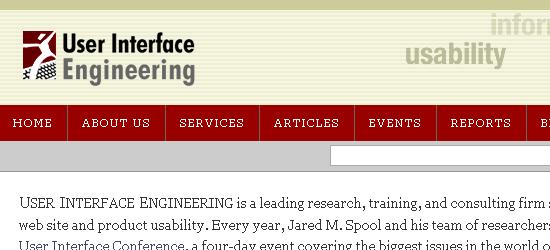 User Interface Engineering - screen shot.