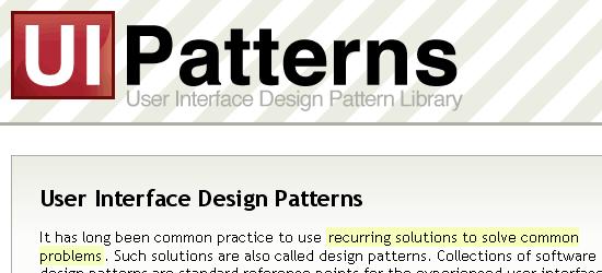UI-patterns - screen shot.