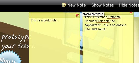 Protonotes - screen shot.