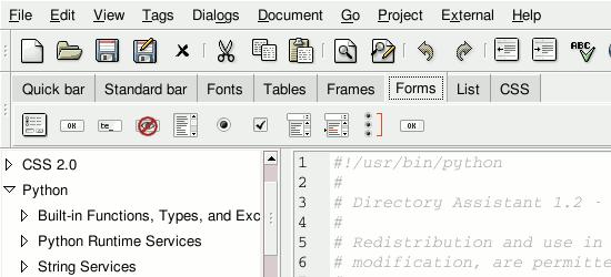 Bluefish Editor - screen shot.