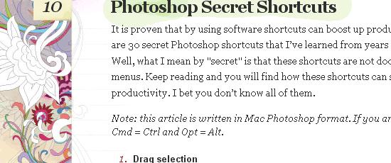 Photoshop Secret Shortcuts - screen shot.