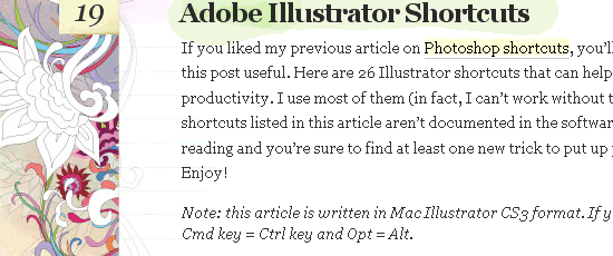 Adobe Illustrator Shortcuts - screen shot.
