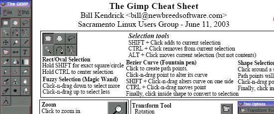 The Gimp Cheat Sheet - screen shot.