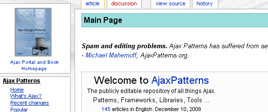 Ajax Patterns - screen shot.