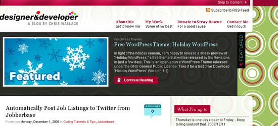 Holiday WordPress: Screen shot.