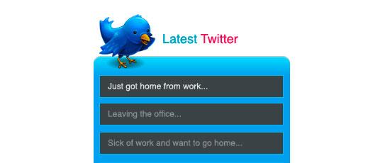 Create a Latest Tweets Box - screen shot.