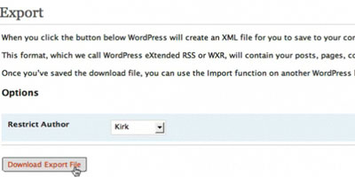 Import and Export WordPress Data - screen shot.