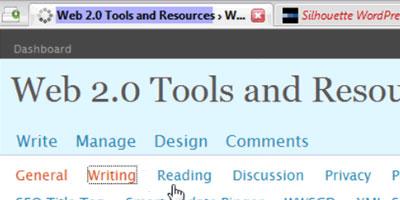 WordPress blog admin settings - screen shot.