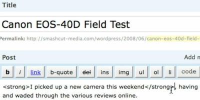 HTML & QuickTags vs. Visual Editor - screen shot.