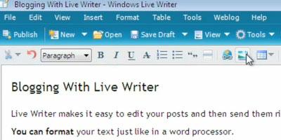 Using Windows Live Writer - screen shot.