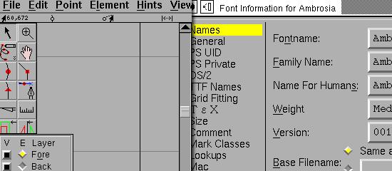 FontForge - screen shot.