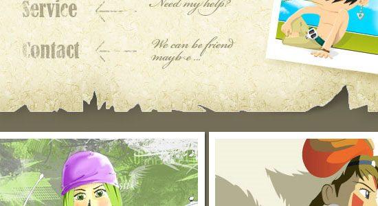 Design a Cartoon Grunge Web site Layout - screen shot.