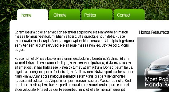Environmentally Friendly Layout - screen shot.