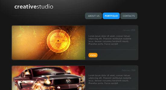 Creative Studio Web Page - screen shot.