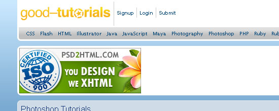 Good-Tutorials: Photoshop Section - screen shot.
