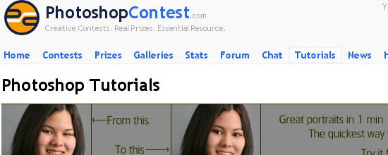 Photoshop Contest: Tutorials - screen shot.