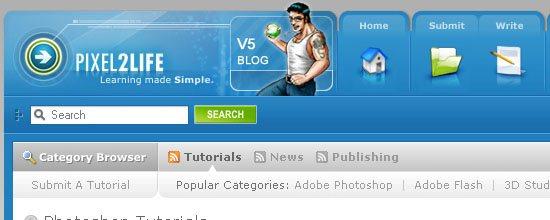 Pixel2Life: Photoshop Tutorials - screen shot.