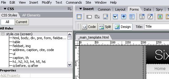 Dreamweaver - capture d'écran.