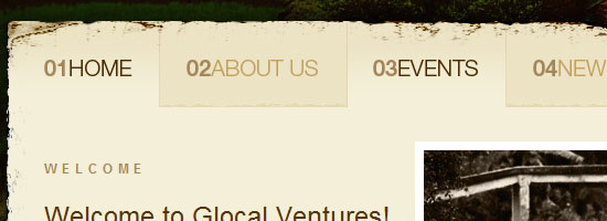 Glocal Ventures navigation menu scren shot.