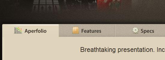 Aperfolio navigation menu screen shot.