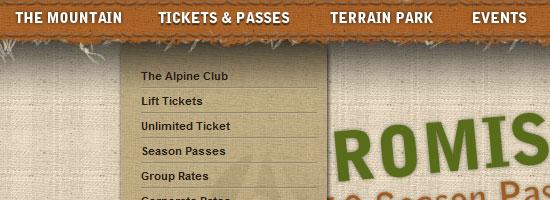 Alpine Meadows navigation menu screen shot.