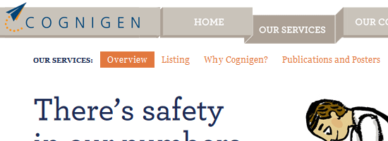 Cognigen navigation menu screen shot.