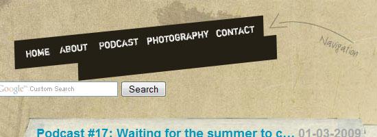 Kayintveen navigation menu screen shot.